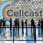Graphic image of silhouettes standing in front of the Cellcast product launch.
